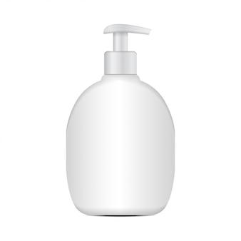 Realistische kosmetische plastikflasche. markenvorlage