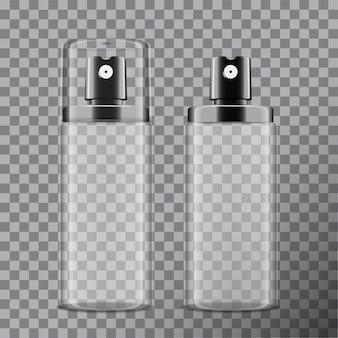 Realistische kosmetische sprühflasche. spender für creme, balsam und andere kosmetika. mit und ohne deckel. vorlage ihr auf transparentem hintergrund