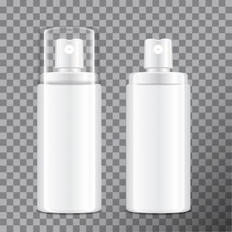 Realistische kosmetische sprühflasche. spender für creme, balsam und andere kosmetika. mit und ohne deckel. vorlage ihre