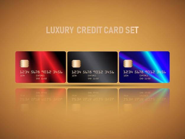 Realistische kreditkarte des vektors eingestellt mit luxuxlichtaufflackernrot, blaue farbzusammenfassungsdesign
