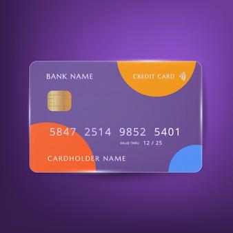 Realistische kreditkarte mit glaseffekt