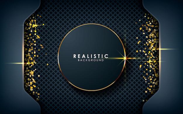 Realistische kreisdimension mit goldenem glitzern