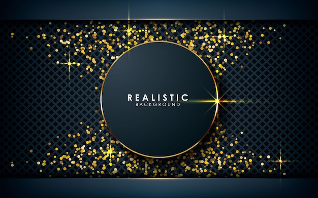 Realistische kreisdimension mit goldenem glitzern