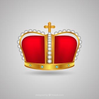 Realistische krone mit dekorativem kreuz