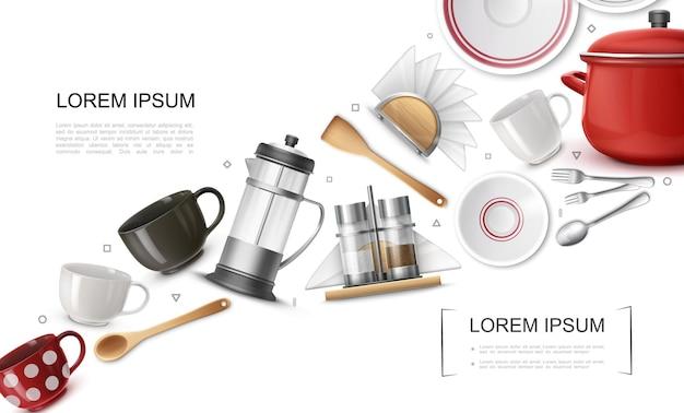 Realistische küchengeschirrelemente mit bunten tassen teekannenlöffel gabeln topfplatten serviettenhalter salz- und pfefferstreuer