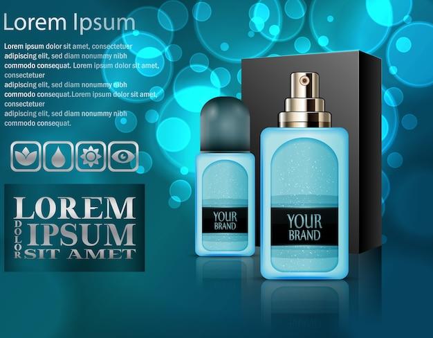 Realistische kunststoff-parfüm-flaschen mit paket-box