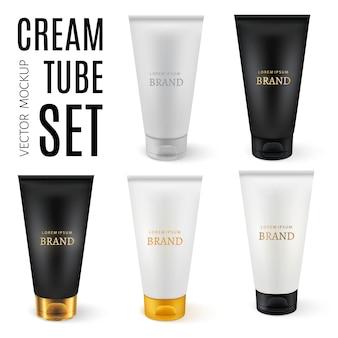 Realistische kunststofftuben für kosmetikprodukte
