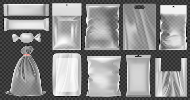 Realistische kunststoffverpackung. leeren sie die vakuum-kunststoffbehälter, reinigen sie das illustrationsset für lebensmittelverpackungen aus polyethylen