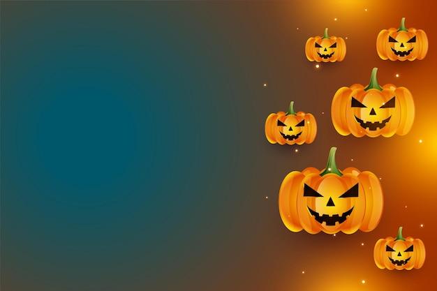 Realistische lachende halloween-kürbisse mit textraum