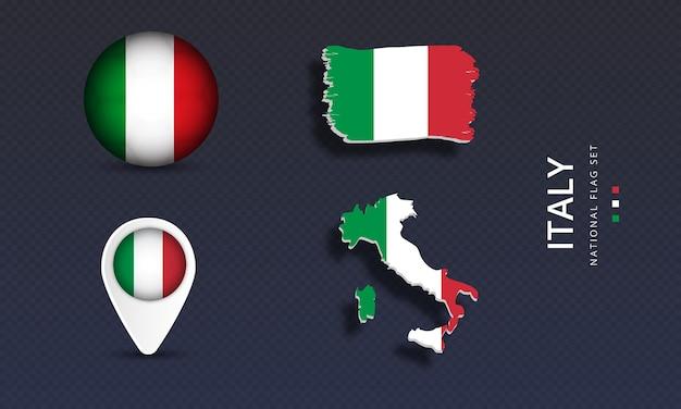 Realistische länderflaggen-set-vektor-illustration