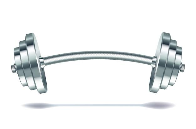 Realistische langhantel aus metall auf weißem hintergrund. illustration.