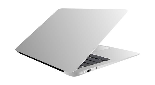 Realistische laptopsteigung 35 grad lokalisiertes weiß