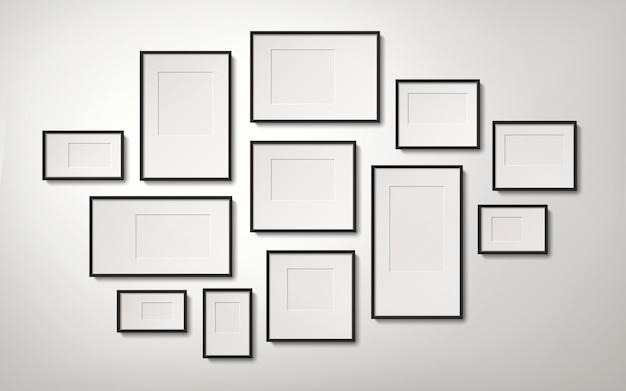 Realistische leere bilderrahmensammlung, die an der wand hängt, 3d illustration