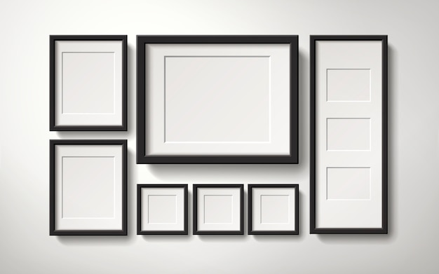 Realistische leere bilderrahmensammlung, die an der wand in der regulären weise, 3d illustration hängt