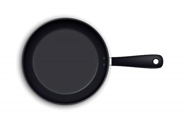 Realistische leere bratpfannenikone in der draufsicht über weiß