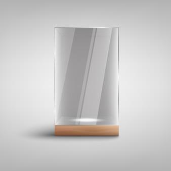 Realistische leere glasvitrine ich mit leerem beleuchtetem raum nach innen