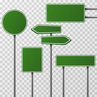 Realistische leere grüne straße und verkehrsschilder lokalisierten satz