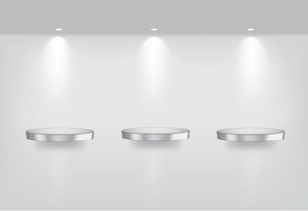 Realistische leere metallische regale