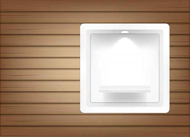 Realistische leere quadratische regale, damit innenraum produkt mit licht und schatten zeigt