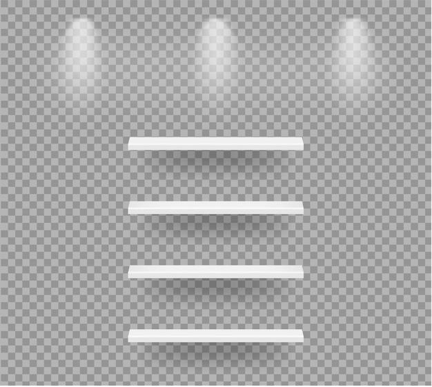 Realistische leere regale, damit innenraum produkt mit licht- und schattenillustration zeigt