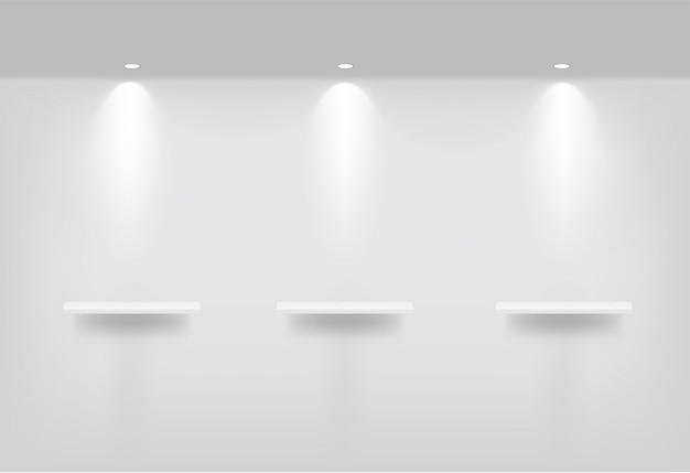 Realistische leere regale für den innenbereich
