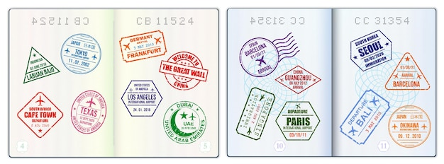 Realistische leere reisepassseiten oder leerer reisepass mit wasserzeichen und stempeln
