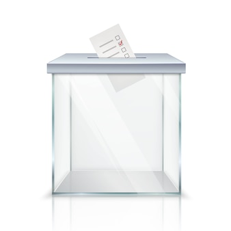 Realistische leere transparente wahlurne mit markierten stimmzetteln im loch