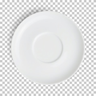 Realistische leere weiße platte isoliert