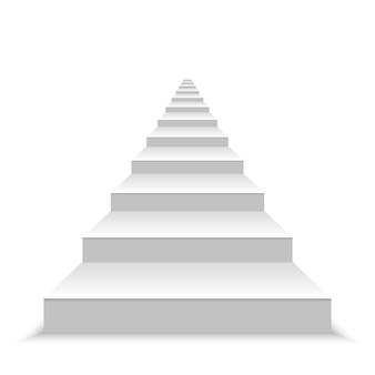 Realistische leere weiße treppe.