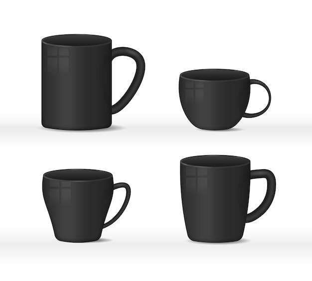 Realistische leere weiße und schwarze kaffeetassenbecher