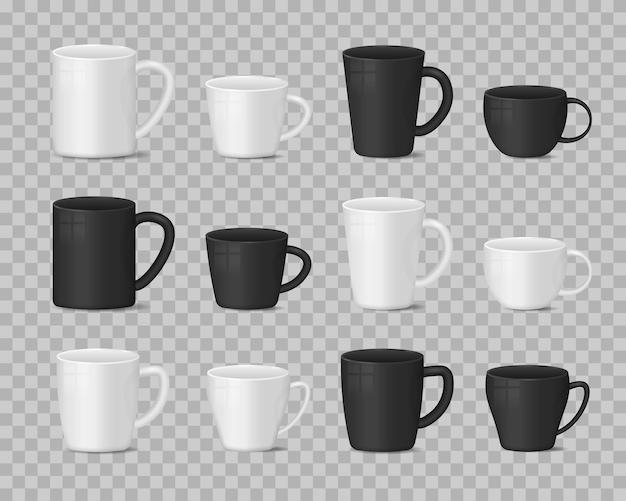 Realistische leere weiße und schwarze kaffeetassenbecherillustration Premium Vektoren
