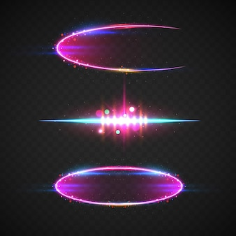 Realistische lens flare-elemente-kollektion