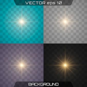 Realistische leuchtende lichteffekte eingestellt