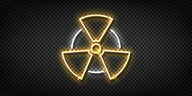 Realistische leuchtreklame des radioaktiven logos