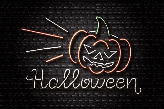 Realistische leuchtreklame von halloween-schriftzug und bösem kürbis für dekoration und abdeckung auf dem wandhintergrund. konzept des glücklichen halloween.