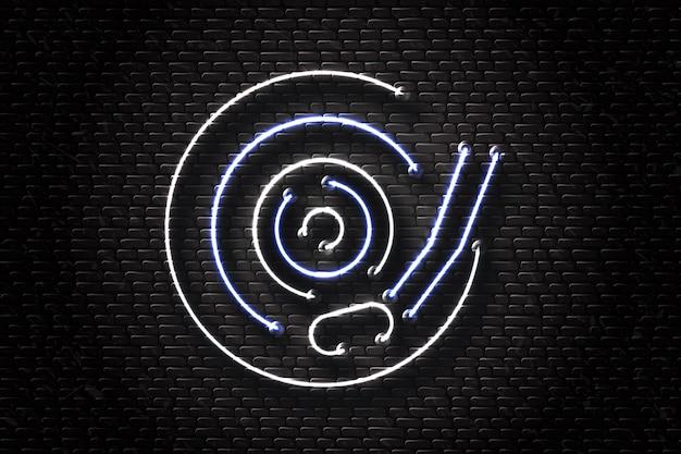 Realistische leuchtreklame von vinyl für dekoration und abdeckung auf dem wandhintergrund. konzept von nachtclub, musik und dj-beruf.