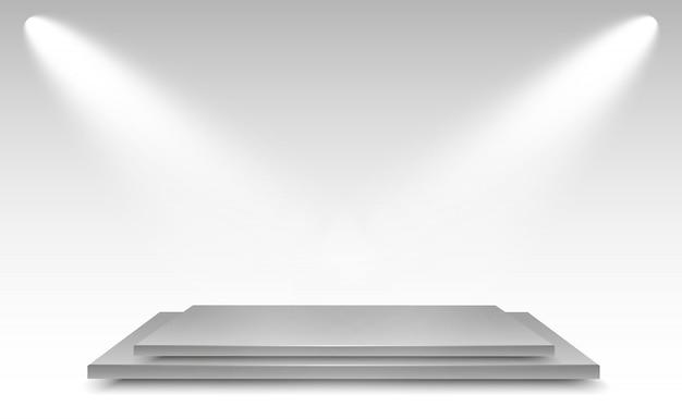 Realistische lichtbox mit plattformhintergrund für performance, show, ausstellung. illustration von lightbox studio interior. podium mit scheinwerfern.