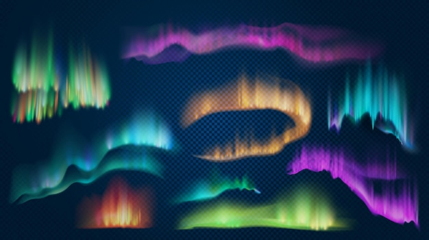Realistische lichter der arktischen aurora borealis, nördliches naturphänomen. abstrakter leuchtender wellenförmiger effekt. polarnachthimmellandschaft