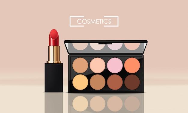 Realistische lidschattenverpackung und roter lippenstift, verpackungspalette, kosmetik elegant