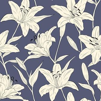 Realistische lilien. nahtloses muster. blumen, blätter und zweige. handgezeichnete vektor-illustration. strichzeichnungen. textur für druck, stoff, textil, tapete.