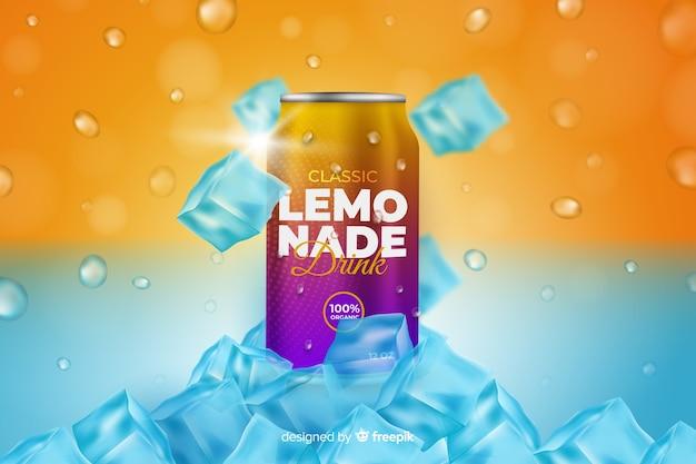 Realistische limonadenwerbung