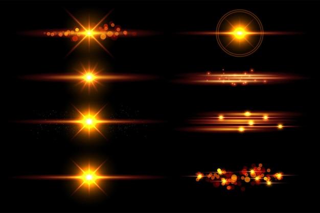 Realistische linsen-flare-elements-sammlung