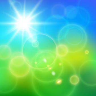 Realistische linsenfackeln sonnige strahlen auf blauem himmel und grünem gras in der sommertagvektorillustration