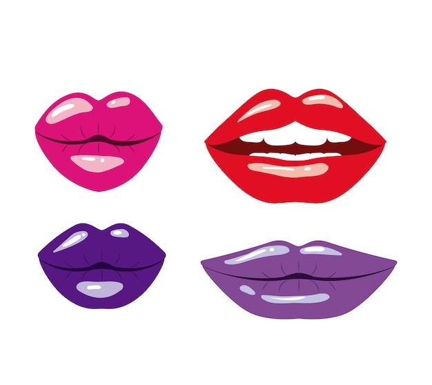 Realistische lippen in verschiedenen farben auf weißem hintergrund