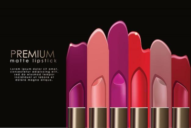 Realistische lippenstift-anzeigenvorlage