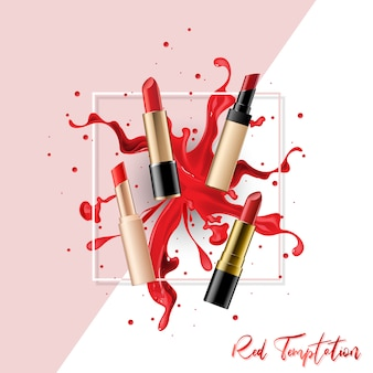 Realistische lippenstiftsammlung eingestellt mit dem farbspritzen