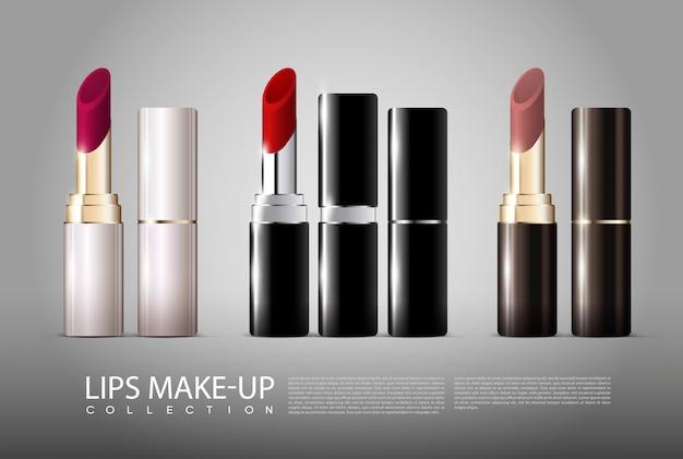 Realistische lippenstiftsammlung