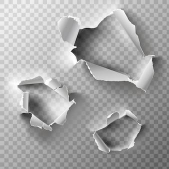 Realistische löcher in papier gesetzt.