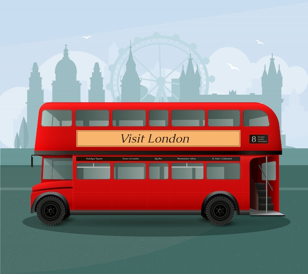 Realistische london-doppeldecker-bus-illustration