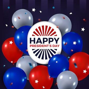 Realistische luftballons für präsidententag mit schriftzug